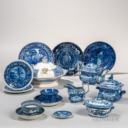 Fifteen Blue and White Transfer-decorated Pottery Items