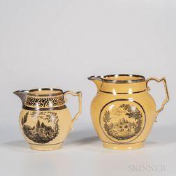 Two Yellow-glazed Staffordshire Jugs