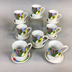 "Set of Eight Frank Lloyd Wright for Tiffany ""Cabaret"" Coffee Cups and Saucers.     Estimate $20-200"