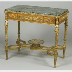 Louis XVI Style Ormolu Mounted Marble Top Tulipwood and Bronze Center Table