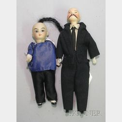 Two Chinese Character Bisque Dolls