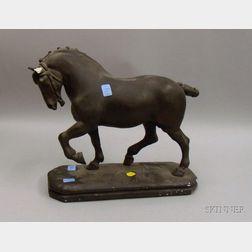 Painted Plaster Horse Sculpture