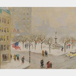 Guy Carleton Wiggins (American, 1883-1962) Snow Storm at the Plaza/View of the Pulitzer Memorial ...