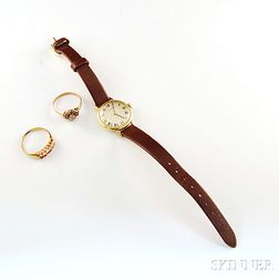 Gold Movado Wristwatch and Two Gem-set Rings