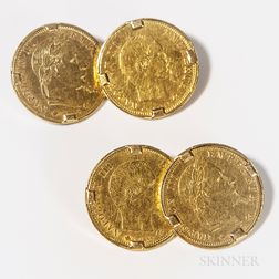 Pair of 18kt Gold-mounted French 5 Francs Coin Cuff Links