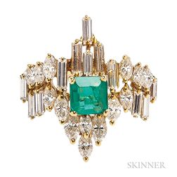 18kt Gold, Emerald, and Diamond Ring