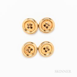 Pair of 14kt Gold Button Cuff Links
