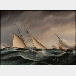 James Edward Buttersworth (British/American, 1817-1894)      Yacht Race.