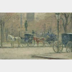 Theodore Robinson (American, 1852-1896)      Hansom Cabs
