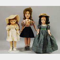 Three Composition and Hard Plastic Dolls