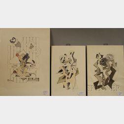 Paolo Boni (Italian, b. 1926)      Three Drawings: Untitled #1, 2