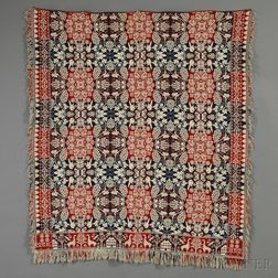 Three-color Woven Wool and Cotton Coverlet with Giraffe Border