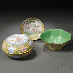 Three Canton Enamel Ware Items