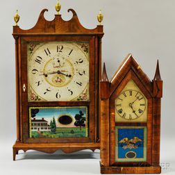 Seth Thomas Pillar and Scroll Shelf Clock and a Waterbury Steeple Clock