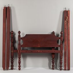 Red-painted Carved and Turned Rope Bed