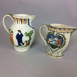Two English Pratt-type Polychrome Ceramic Pitchers