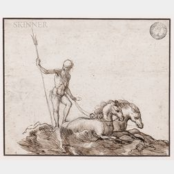 German School, 17th Century      Neptune Pulled by Two Horses