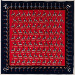 """Framed Hermes """"Les Artificiers"""" Navy and Red Silk Scarf"""