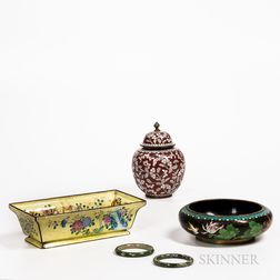 Four Cloisonne Items and a Hardstone Bangle
