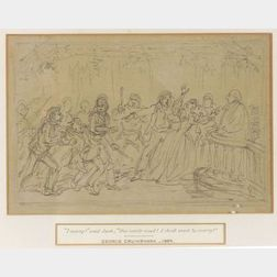 Attributed to Cruikshank (British, 1792-1878)    Lot of Two Drawings Including Vicar of Wakefield