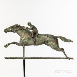 Molded Sheet Copper Horse and Jockey Weathervane