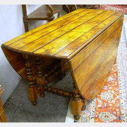 William & Mary Style Hardwood Deep Drop-leaf Gate-leg Table