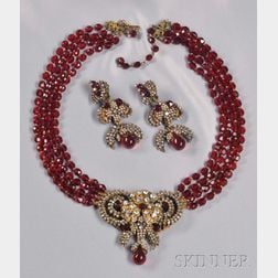 Rare Prototype Necklace with Pendant, Miriam Haskell