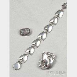 Three Sterling Silver Jewelry Items, Georg Jensen