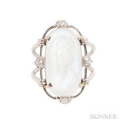 Platinum, Moonstone Cameo, and Diamond Ring