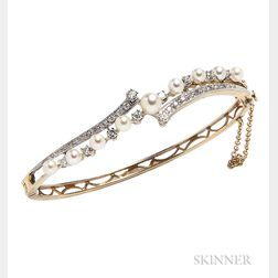 14kt Gold, Cultured Pearl, and Diamond Bracelet