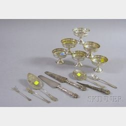 Weighted Silver Sherbet Cups and Eight Pieces of Sterling Flatware