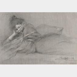 Eric L. (Frederic) Pape (American, 1870-1938)      Alice Monroe, a Paris art student