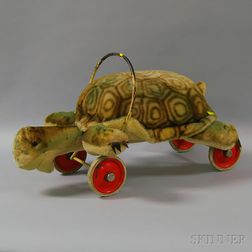 Ride-on Steiff Plush Turtle on Wheels