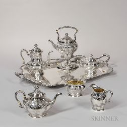 Six-piece Gorham Sterling Silver Tea and Coffee Service with Silver-plate Tray