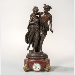 Figural Bronze-mounted Mantel Clock