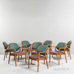 Eight Bill Stephens for Knoll International Bentwood Armchairs