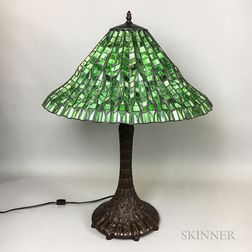 Bronzed Metal and Slag Glass Table Lamp