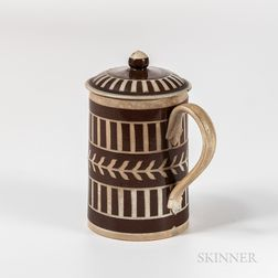 Brown Slip Engine-turned Covered Mug