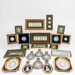 Twenty-four Mostly Wedgwood Jasper Plaques and Medallions.     Estimate $150-200