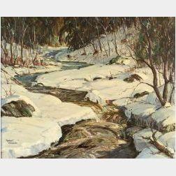 Robert Shaw Wesson (American, 1902-1967)  Maine Winter Woodland Scene