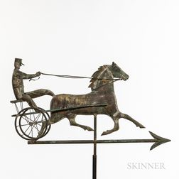 Molded Sheet Copper and Zinc Horse and Sulky Weathervane
