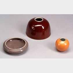 Three Monochrome Porcelain Items