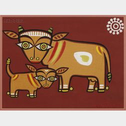 Jamini Roy (Indian, 1887-1972)      Sacred Cow and Calf