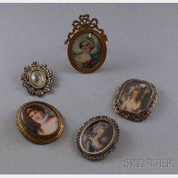 Four Hand-painted Portrait Miniature Brooches and a Framed Hand-painted Miniature   Portrait on Ivory