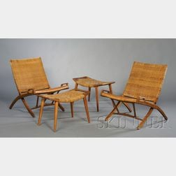 Two Hans Wegner Folding Chairs and Ottomans