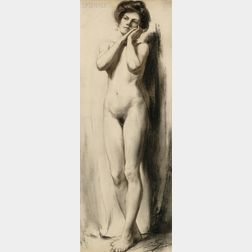 Eric L. (Frederic) Pape (American, 1870-1938)      Standing Nude Portrait of Alice M. Pape, the Artist's Wife