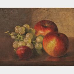 Robert Spear Dunning (American, 1829-1905)      Still Life with Apples, Grapes, and Plum