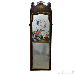 Queen Anne-style Painted and Carved Mahogany Mirror