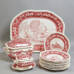 """Fifteen Pieces of Copeland Spode Red  """"Tower"""" and """"Plover"""" Transfer-decorated Tableware"""