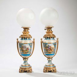 Pair of Gilt-bronze-mounted Limoges Porcelain Table Lamps